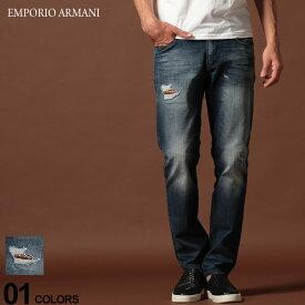 エンポリオ アルマーニ EMPORIO ARMANI デニムパンツ ダメージ ロゴ ジップフライ ジーンズ SLIM BLUE ブランド メンズ ジーパン デニム スリム EA6G1J061D6YZ