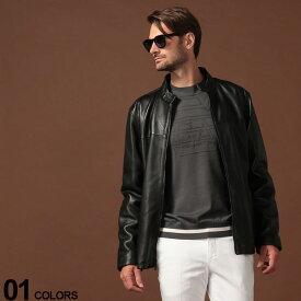 DKNY ダナキャラン ニューヨーク レザージャケット フルジップ レザー シングル ブランド メンズ アウター ブルゾン 革ジャン スタンドカラー DKDX9M2388