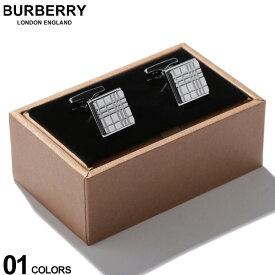 バーバリー BURBERRY カフス パラジウムプレート チェックエングレイブ スクエア カフリンクス SILVER ブランド メンズ ビジネス アクセサリー カフスボタン BB8015273F9