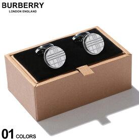 バーバリー BURBERRY カフス パラジウムプレート チェックエングレイブ ラウンド カフリンクス SILVER ブランド メンズ ビジネス アクセサリー カフスボタン BB8015270F9