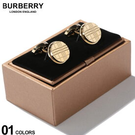 バーバリー BURBERRY カフス パラジウムプレート チェックエングレイブ ラウンド カフリンクス GOLD ブランド メンズ ビジネス アクセサリー カフスボタン BB8015269F9