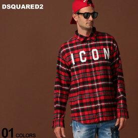 ディースクエアード DSQUARED2 ネルシャツ 長袖 チェック ロゴ ICON プリント ブランド メンズ トップス D2DM0273S52064