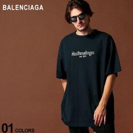 バレンシアガ BALENCIAGA Tシャツ 半袖 ロゴ クルーネック ビッグシルエット est.1917 ブランド メンズ トップス コットン BC583214TFV44