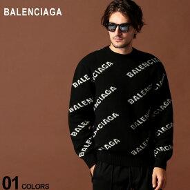 バレンシアガ BALENCIAGA ニット セーター ロゴ 総柄 ウール キャメル クルーネック ブランド メンズ トップス BC555481T1471