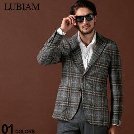 ルビアム LUBIAM ジャケット ウール混 チェック シングル 2ツ釦 2B ブランド メンズ アウター テーラード サイドベンツ LBM281795194