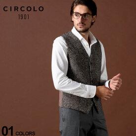 チルコロ1901 CIRCOLO 1901 ジレ コットン ストレッチ プリント へリンボーン ブランド メンズ ベスト CICN2392CT551 SALE_2_c