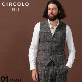 チルコロ1901 CIRCOLO 1901 ジレ コットン ジャージー チェック シングル ベスト ブランド メンズ プリント チョッキ CICN2438 SALE_2_c