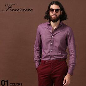 フィナモレ Finamore シャツ 長袖 ホリゾンタルカラー ブランド メンズ トップス ワイン ワイシャツ ドレスシャツ FI980158