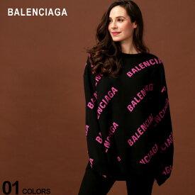 バレンシアガ BALENCIAGA ニット セーター ロゴ 総柄 クルーネック コットンニット ウール混 長袖 ブランド レディース トップス BCL570822T3153