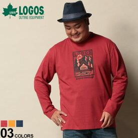 大きいサイズ メンズ LOGOS (ロゴス) 吸汗速乾 フロントプリント クルーネック 長袖 Tシャツ カジュアル トップス シャツ ロンT プリント コットン 94337489