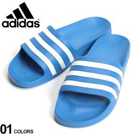 大きいサイズ メンズ adidas (アディダス) 速乾 スリーライン スライドサンダル ADILETTE AQUA BLUE ファッション カジュアル シューズ シャワーサンダル スポーツ BTF35541