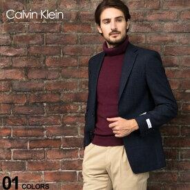 カルバンクライン ジャケット CK Calvin Klein ウール混 シャドーチェック シングル 2ツ釦 SLIM FIT ブランド メンズ アウター テーラード ウール 総裏 細身 CKMABRY7CX093