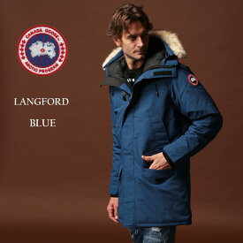 カナダグース ダウン メンズ CANADA GOOSE ダウンジャケット ファー フード パーカー ブルゾン LANGFORD ラングフォード BLUE ブランド アウター CG2062M