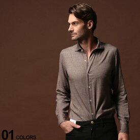 フィナモレ Finamore 綿100% ホリゾンタルカラー 長袖シャツ BROWN ブランド メンズ トップス シャツ FI980158