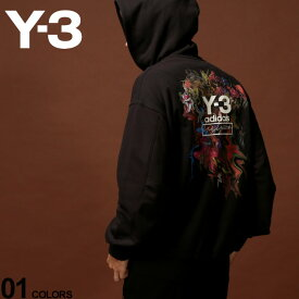 Y-3 ワイスリー パーカー スウェット バックプリント フローラルブーケ プルオーバー TOKETA PRINT ブランド メンズ トップス フード アディダス Yohji Yamamoto Y3FJ0436