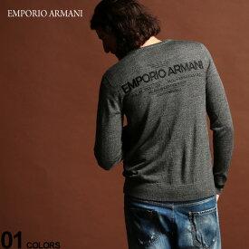 エンポリオ アルマーニ ニット セーター EMPORIO ARMANI ニットソー バックロゴ クルーネック GRAY ブランド メンズ トップス EA6G1MXC1MNXZ