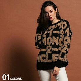 モンクレール ニット レディース MONCLER ロゴ クルーネック セーター 総柄 ブランド トップス アルパカ ウール MCL9099100A9030