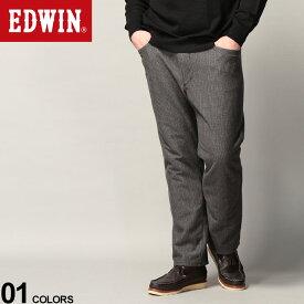 大きいサイズ メンズ EDWIN (エドウィン) JERSEYS WILDFIRE ストレッチ グレンチェック ロングパンツ ボトムス パンツ 動きやすい 暖かい チェック 秋冬 ER13WF1276