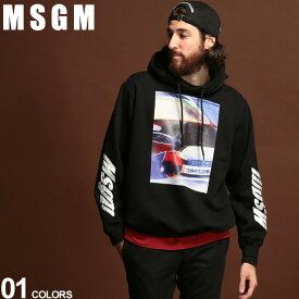 MSGM パーカー メンズ フォトプリント プルオーバー ビッグシルエット BLACK ブランド トップス スエット 袖プリント フード MS2740MM172 SALE_1_e