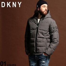 DKNY メンズ 中綿ジャケット ダナキャランニューヨーク 撥水加工 ロゴ フード パーカー ブルゾン GRAY ブランド アウター パディング DKNYDX9MN197