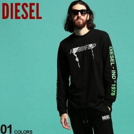ディーゼル メンズ ロンT DIESEL Tシャツ 長袖 袖プリント バックプリント クルーネック T-JUST-LS-VINT ブランド トップス プリントT カットソー DSSASNDAZG SALE_1_b