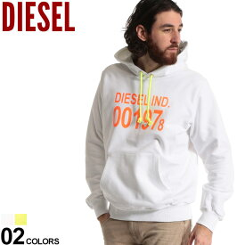 ディーゼル メンズ パーカー DIESEL スウェット ロゴ プリント フード プルオーバー ブランド トップス プルパーカー スエット 白 蛍光イエロー DSSAUNIAJH