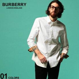 バーバリー メンズ シャツ BURBERRY 長袖 オックスフォード TBロゴ WHITE ブランド トップス コットン レギュラーカラー 白シャツ BB8024514