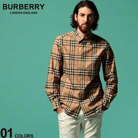 バーバリー メンズ シャツ BURBERRY 長袖 チェック コットンポプリン BEIGE ブランド トップス チェック レギュラーカラー ノバチェック BB8020863