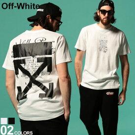 オフホワイト メンズ Tシャツ OFF-WHITE 半袖 ロゴ バックプリント クルーネック DRIPPING ARROWS SLIM ブランド トップス プリントT スリム ドリッピングアロー OWAA27R20185005 SALE_1_a