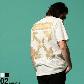 オフホワイト メンズ Tシャツ OFF-WHITE 半袖 ロゴ バックプリント クルーネック TAPE ARROWS SLIM ブランド トップス プリントT テープアロー OWAA27R20185002
