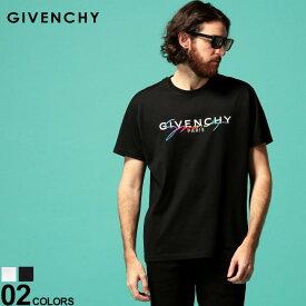 ジバンシィ メンズ Tシャツ GIVENCHY 半袖 シグネチャー ロゴ プリント 刺繍 クルーネック ブランド トップス プリントT GVBM70RL3002 SALE_1_a