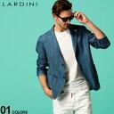 ラルディーニ メンズ ジャケット LARDINI シャツジャケット デニムライク シングル 2ツ釦 2B ブランド アウター テー…