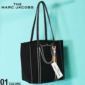 ザ マークジェイコブス レディース トートバッグ THE MARC JACOBS キャンバス プリント バッグ Tag Tote 27 BLACK ブランド 鞄 リネン コットン MJLM0015787002 SALE_5_a