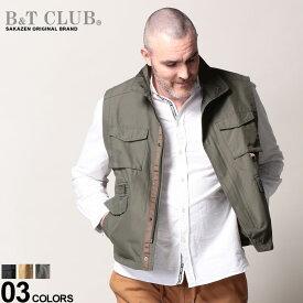 大きいサイズ メンズ B&T CLUB (ビーアンドティークラブ) 無地 ポケット付き フルジップ スタンド ベスト アウター ベスト ジレ 作業着 アウトドア シンプル ポケット スポーツ BT761913Z