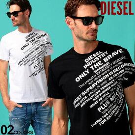 ディーゼル メンズ Tシャツ 半袖 DIESEL プリント ロゴ クルーネック ブランド トップス プリントT ロゴT コットン DSSEGB091A SALE_1_a