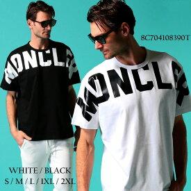 モンクレール メンズ Tシャツ 半袖 MONCLER ロゴ ショルダー プリント クルーネック ブランド トップス プリントT ロゴT MC8C704108390T