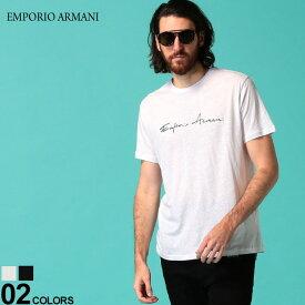 エンポリオ アルマーニ メンズ Tシャツ 半袖 EMPORIO ARMANI リネン コットン ロゴ プリント クルーネック ブランド トップス 麻 プリントT ロゴT EA2118180P466 SALE_1_a
