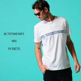 モンクレール メンズ Tシャツ MONCLER ロゴ プリント クルーネック 半袖 ブランド 白 トップス ロゴT ライン MC8C707108390T