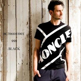 モンクレール メンズ Tシャツ MONCLER 半袖 ロゴ プリント クルーネック ブランド トップス ロゴT 黒 MC8C706108390T