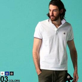 モンクレール メンズ ポロシャツ 半袖 MONCLER 鹿の子 ライン ロゴ ワッペン ポロ ブランド トップス コットン MC8A7030084556 SALE_1_d
