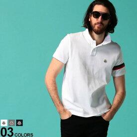 モンクレール メンズ ポロシャツ 半袖 MONCLER 鹿の子 リフレクター トリコロール ライン ロゴ ワッペン ブランド トップス コットン MC8A7090084556 SALE_1_d