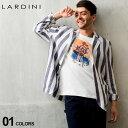 5000円OFFクーポン対象 ラルディーニ メンズ ジャケット LARDINI シャツジャケット リネン 麻100% ストライプ シング…