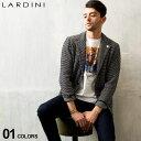 ラルディーニ メンズ ジャケット LARDINI コットンニット ボーダー シングル 2ツ釦 2B ニットジャケット ブランド サ…