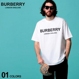 バーバリー メンズ Tシャツ 半袖 BURBERRY ロゴ プリント クルーネック 白 ブランド トップス コットン BB8026017