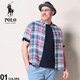 大きいサイズ メンズ RALPH LAUREN (ラルフローレン) 麻100% チェック柄 ボタンダウン 半袖 シャツ シャツ 半袖 チェック リネン リネンシャツ 春 夏 柄シャツ HC20RL08D22