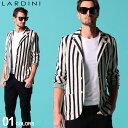 ラルディーニ メンズ ジャケット LARDINI コットン リネン ニット ストライプ シングル 2B ブランド ニットジャケット…