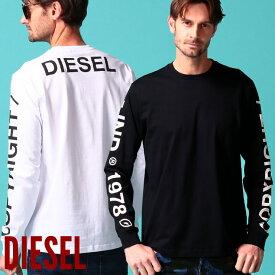 ディーゼル メンズ Tシャツ 長袖 DIESEL ロゴ 袖プリント バックプリント クルーネック ロンT ブランド トップス カットソー DSSEF8091A