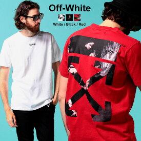 オフホワイト メンズ Tシャツ 半袖 OFF-WHITE ロゴ バックプリント クルーネック CARAVAGGIO ARROW SLIM ブランド トップス カラヴァッジョ バロックプリントT OWAA27S20185004 SALE_1_a