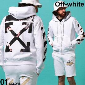 オフホワイト メンズ パーカー スウェット OFF-WHITE ロゴ バックプリント 袖プリント CARAVAGGIO ARROW SLIM ブランド トップス カラヴァッジョ ジップパーカー スエット OWBE01S20E30004 SALE_1_e