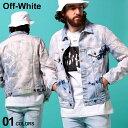 オフホワイト メンズ デニムジャケット OFF-WHITE ブリーチ バック ロゴ フルボタン EXTREME BLEACH SLIM ブランド ア…